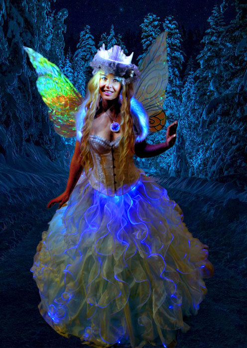 glowing snow queen fairy performer